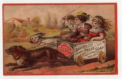 1800's Victorian - David's Prize Soap - Trade Card - Kids In Cart, Dogs