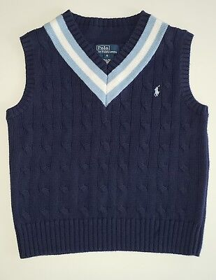 Polo Ralph Lauren Boys Vest 5 Navy Blue White Cable Knit Sweater