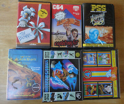 X6 Mixed Clamshell/Jewel Case Game Bundle - Commodore 64 - Untested