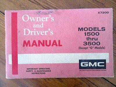 1972 GMC 1500-3500 Except G Models Factory GM Original Owners Manual