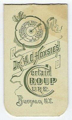 Dr. Hoxsie's Certain Croup Cure late 1800's memorandum booklet - Buffalo, NY