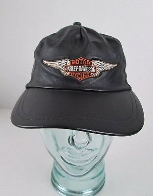 8e2b47091b6 Vintage Harley Davidson Leather Hat Cap Made in the USA by Harley Davidson