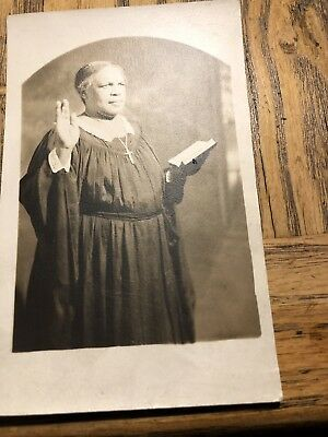 African American Woman Photo With Bible RPPC