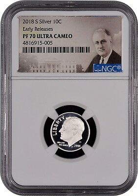 2018 S SILVER Roosevelt Dime Early Releases NGC PF70 Ultra Cameo (Portrait)