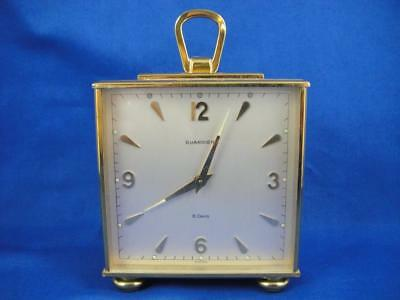 Vintage Guardier Double Face 8-Day Heavy Brass Carriage Desk Clock ~ As Is