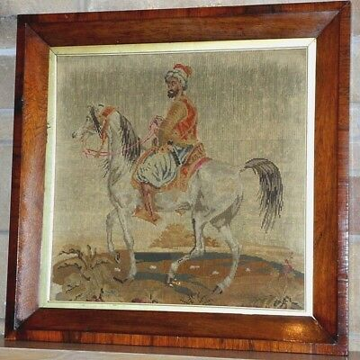 Antiques Tapestries English Woolwork Pictorial Victorian Needlepoint Equestrian Lipizzaner Horses