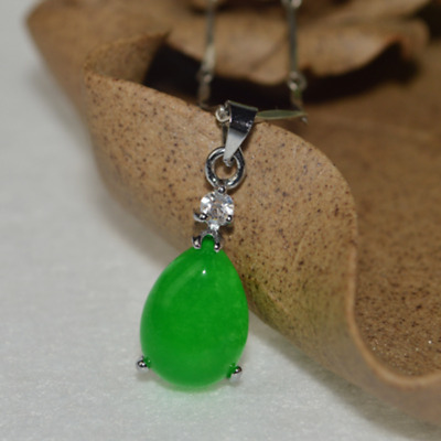 China Handwork Carved Green Jade Water Drop Shape Pendant With Necklace
