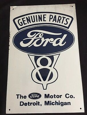 """FORD GENUINE PARTS V8 Ford Motor Co Dearborn MI Metal Advertising Sign 17"""" x11"""""""