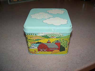 Vintage NFR Metal Tin Cow Chicken Sheep Ducks Barn Clouds County Farm Scene