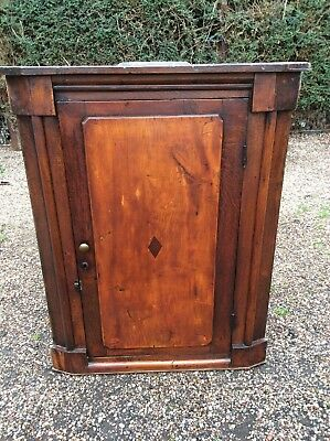 Antique Oak & Elm Corner Cupboard Early Georgian Wall Hanging