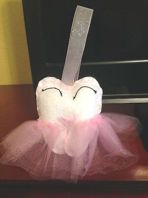 Tooth Fairy Hanging Pillow with Pink Skirt - Unused - Handmade - FREE SHIPPING
