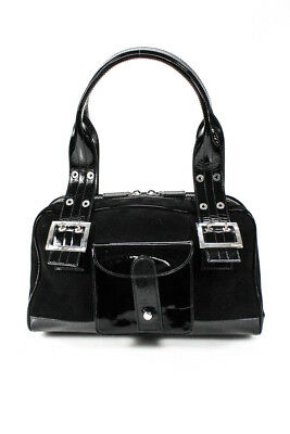8c5fa2933db0 Gianni Versace Double Strap Zipper Closure Tote Handbag Black Patent Leather  Siz