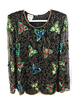 Stenay Womens 80s Sequin Beaded Silk Top Vintage Black Gold Formal Blouse Large