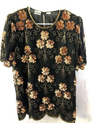 Womens 80s floral Sequin Beaded Silk Top Vintage Black Gold Formal Blouse Large