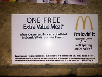 SALE 10 Mcdonalds Free Combo Voucher Meals Cheap New Restaurant Fast Food Gifts