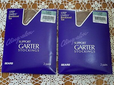 4 Pair Vintage Sears Cling-alon Support Garter Stockings Nylons to size 11 NIP