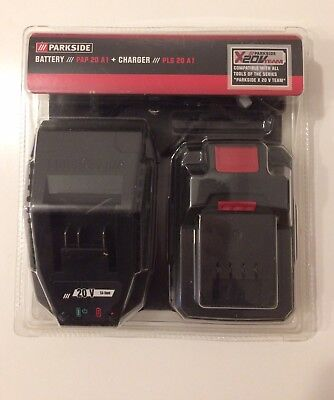 Parkside Battery 20v Team PAP 20 A1 + Charger PLG 20 A1 (German Made)