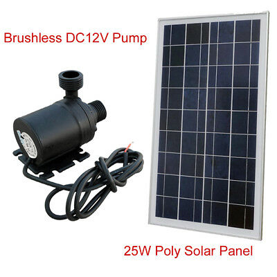 25W Solar Panel & DC12V Hot Water Circulation Pump Brushless Water System Quiet