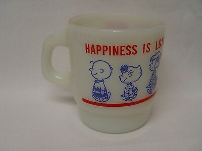 Fire-King Weber's Bread PEANUTS CHARACTERS Advertising Coffee Mug SNOOPY LUCY ++