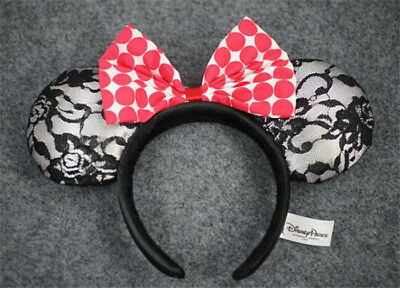 New Disney Parks Minnie Mouse Red Dot Bow Silk Headband Kids Girl Gift Ears Hat