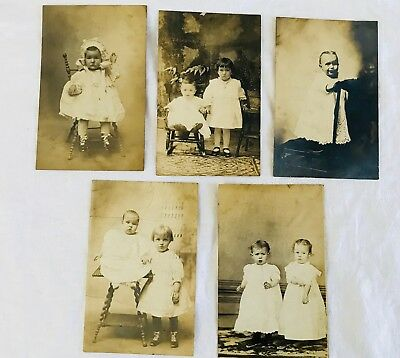 Mixed Lot of 5 Antique RPPC Real Photo Postcards of Children and Babies