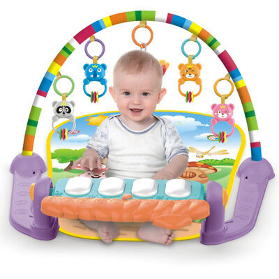 Baby Gym Play Mat Lay & Play 3 in 1 Fitness Music Fun Piano For Boys Girls
