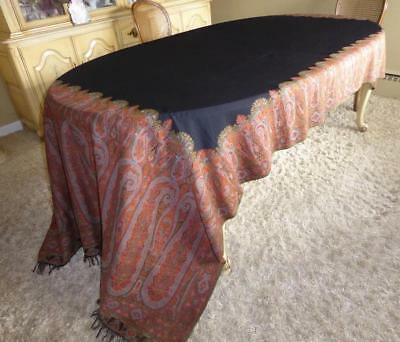 """Antique Victorian Jacquard  Paisley Woven Wool Shawl Throw Tablecloth 134"""""""