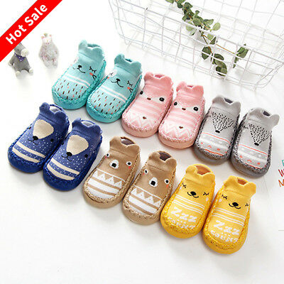 UK STOCK Baby Kids Boys Girls Cartoon Anti-slip Socks Warm Floor Slipper Socks