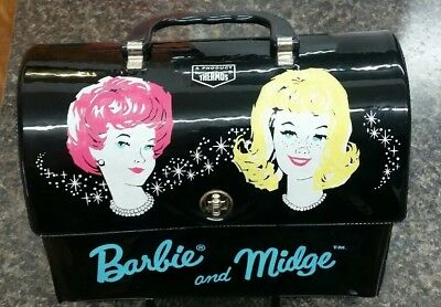 Vintage 1964 Mattel Barbie and Midge Vinyl Dome Lunch Box with Thermos ~ Beauty!