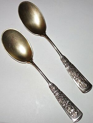 PAIR of (2) ANTIQUE Gorham FONTAINEBLEAU Sterling ICE CREAM SPOONS w/GOLD WASH!