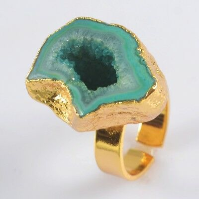 Size 6.5 Blue Agate Druzy Geode Cave Adjustable Ring Gold Plated B073840