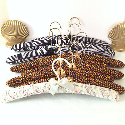 Clothes Hangers 10 LOT Padded Fabric Covered Animal Print Floral Tassles Bow Vtg