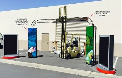 Truss Rail Trade Show Exhibit Booth Rotating Sign LightBoxes Sign Pillars Crates