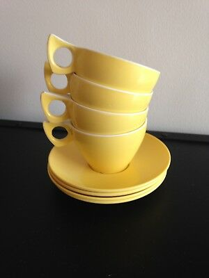 Duraware Falcon Set 4 Cups And Saucers Yellow