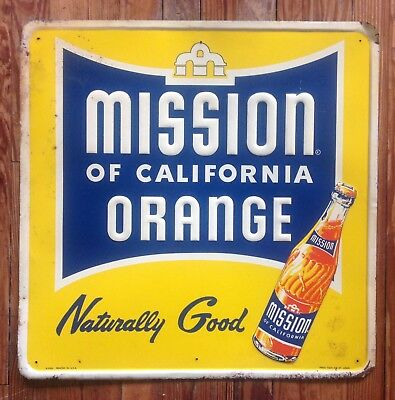 Vintage Collectible Mission Of California Orange Embossed Metal Soda Sign