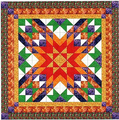 Easy Quilt Kit/Autumn Star/Pre-cut Fabric Ready To Sew/Red,Gold,Purple,Browns***
