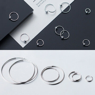 925 Silver HOOP SLEEPER EARRINGS 6- 70mm SMALL LARGE NOSE SET BALL RING