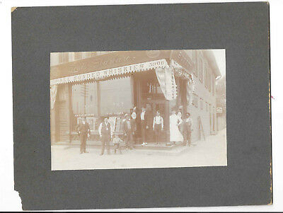 Antique Cabinet Photo Saloon w/Anheuser-Busch Ad, African-American Man c1900