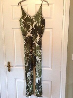 a8eea4c0348 TOPSHOP PALM LEAF Print Jumpsuit Size 8 Uk Green White - £35.00 ...