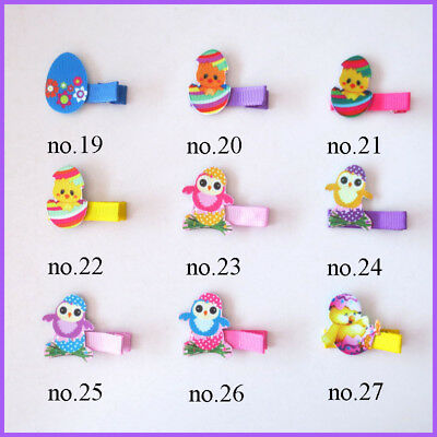 """100 BLESSING Fashion 2"""" Hair Clip Bow Easter Spring Rabbit Chicken Egg Baby"""