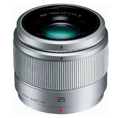 Panasonic LUMIX G 25mm f/1.7 Silver. Boxed in immaculate pristine condition.