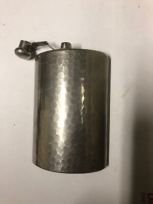 Vintage German Hammered Hip Flask Large 16 Oz  Capacity Marked Made In Germany