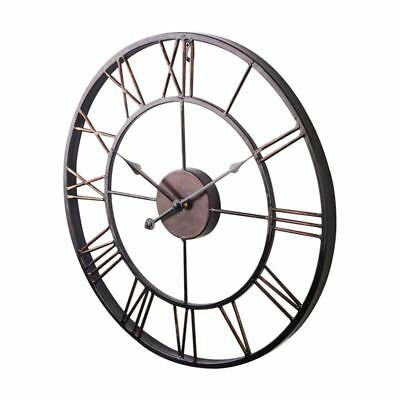Extra Large Vintage Style Statement Metal Wall Clock Country Style - Chocol I1N6