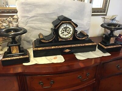 Stunning French Mantle Clock with garniture -  By S Marti