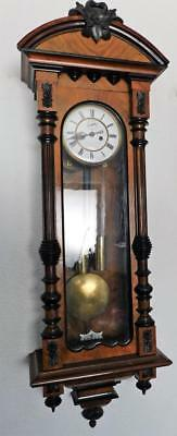 nice quality walnut & ebony cased double weight vienna wall clock