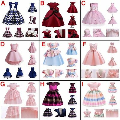 Girls Floral Bowknot Sleeveless Princess Dress Kids Xmas New Years Gift Outfits