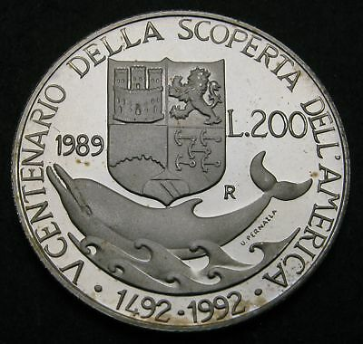 ITALY 200 Lire 1989R Proof - Silver - Christopher Columbus - 1750