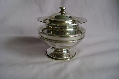 Antique Solid Silver Mustard Pot With Hinged Lid Birmingham 1910 195 Grams