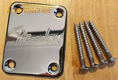 🇬🇧Fender Logo Chrome Neck Plate & Screws Squier Strat Tele Jag Bass UK seller