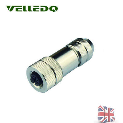 New Sensor Connector M12 4 Pin Female Plug Screw Thread Shiled Cable Connector